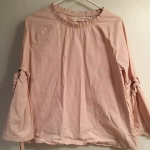 Light Pink Oversized A-Line Top w/Gathered Detail